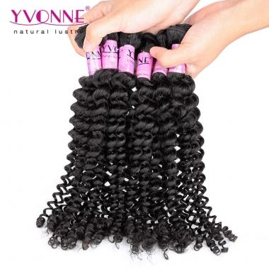 100% Brazilian Hair Sample Yvonne Kinky Curl 12inch Hair Weave 1B Color About 12g/Bundle