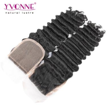YVONNE Hair Products Virgin Brazilian Deep Wave Silk Base Closure,100% Human Hair Closure 4x4