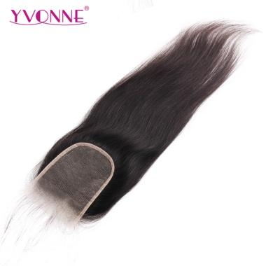 YVONNE Transparent Lace Closure Size 4x4 Brazilian Straight Human Hair Free Part Bleached Knots With Baby Hair