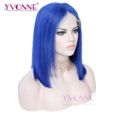 YVONNE Fashion Blue Straight Bob Wig 100% Human Hair Lace Front Wigs