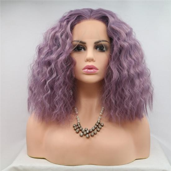 Yvonne Purple Wavy Synthetic Lace Front Wig Natural Dark Root Heat Resistant Hair Bob Wigs For Women