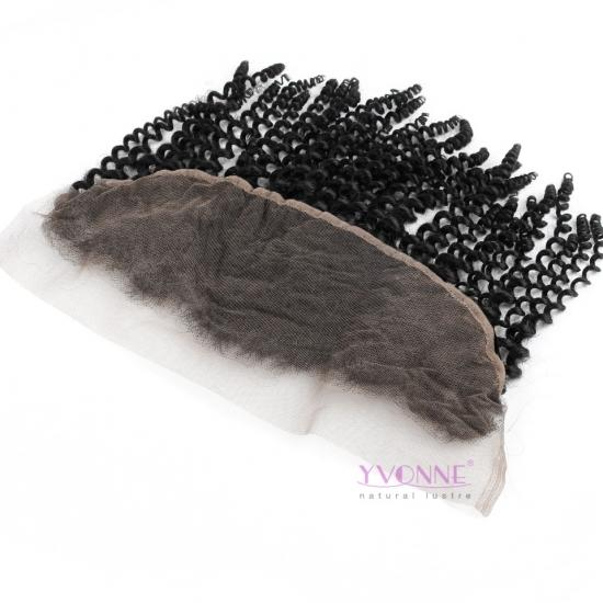 YVONNE Kinky Curly Lace Frontal Closure 13.5*4,100% Human Hair Free Part Brazilian Virgin Hair Lace Frontal