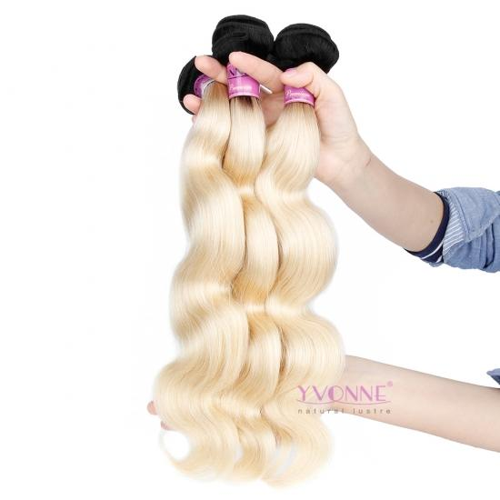 Yvonne Hair 3/4Pcs/Lot 1B/613 Color Best Quality Brazilian Hair Body Wave Weave 12inch to 28inch