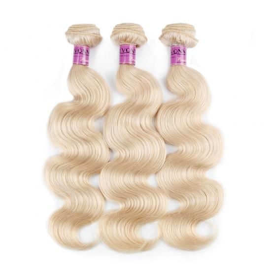 Yvonne Hair 3/4Pcs/Lot #613 Platinum Blonde Brazilian Virgin Hair Body Wave Hair Weaving12inch to 28inch