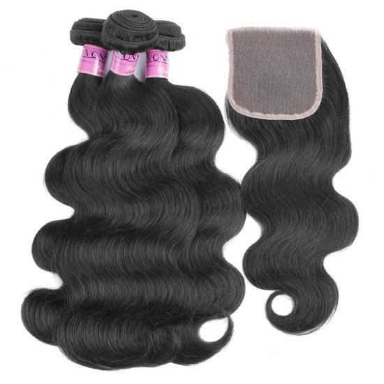 NEW Low Price Peruvian Remy Human Hair Weave With Closure, 3PCS Body Wave Weft With Closure Full Head