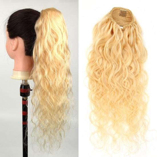 Yvonne 613 Blonde Body Wave Drawstring Ponytail Human Hair Clip In Extensions 1 Piece