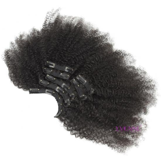 YVONNE Afro Kinky Curly Clip In Human Hair Extensions Brazilian Virgin Hair 7 Pieces/Set Natural Color 120g/set