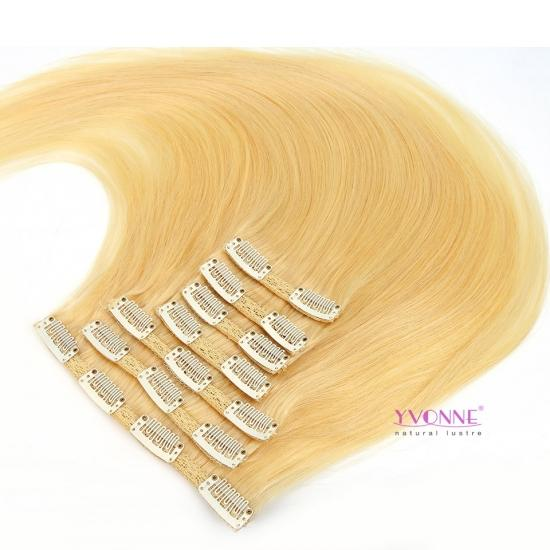 Yvonne Hair Color 613 Straight Blonde Clip In Human Hair Extensions,7Pcs/set, 10-28 Inches in Stock
