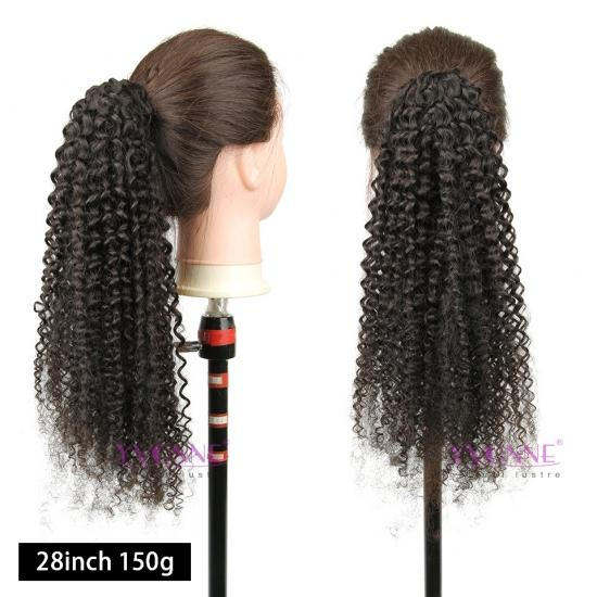 YVONNE Malaysian Curly Drawstring Ponytail For Women Natural Color Clip In Ponytails 100% Human Hair Products