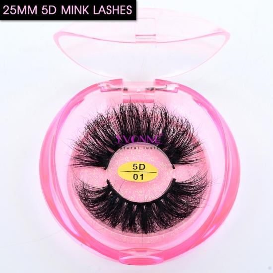 Yvonne Wholesale Long Hair 25mm 5D Real Mink Eyelashes Thick Strip 25mm Long Lashes