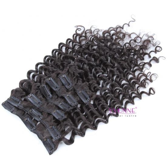 YVONNE Deep Wave Virgin Hair Clip in Hair Extensions Color 1b,14Clips 7pcs/set 100% Human Hair Wave Clip in Hair