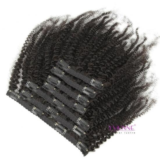 YVONNE 4B 4C Kinky Coily Clip In Human Hair Extensions Brazilian Virgin Hair 7 Pieces/Set 120g Natural Color