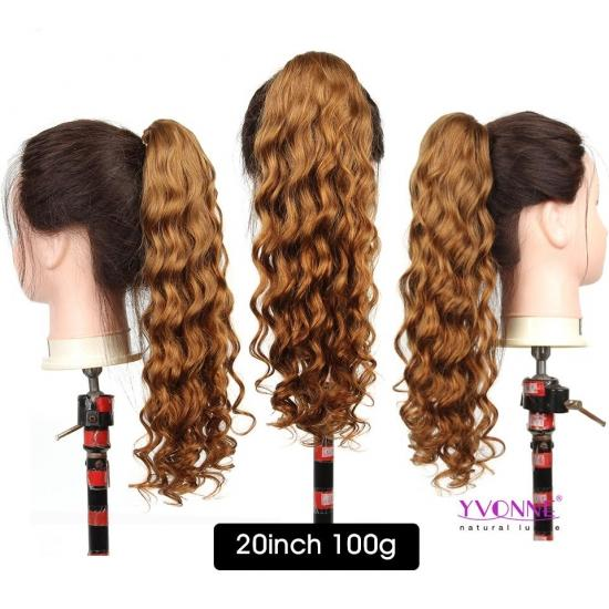 Yvonne Brazilian Curly Drawstring Ponytail Human Hair Clip In Extensions #30 Color 1 Piece