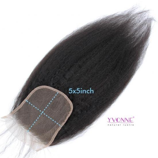 Yvonne Hair Kinky Straight 5x5inch Lace Closure Free Part Swiss Lace Brazilian Human Hair Closure With Baby Hair