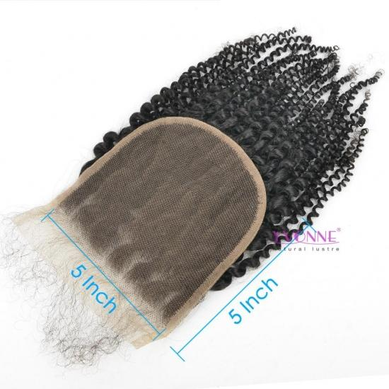 Yvonne Hair 4B 4C Kinky Coliy 5x5 Lace Closure Free Part Swiss Lace 100% Human Hair Closure With Baby Hair