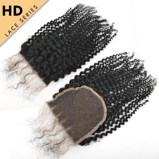 Yvonne HD Lace Top Closure 5*5 Kinky Curly HD Swiss Lace Closure Free Part Virgin Human Hair With Baby Hair