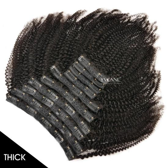 YVONNE Thick 32Clips 10PCS/Set 4B 4C Kinky Coily Clip In Hair Extensions Natural Human Hair Natural Color