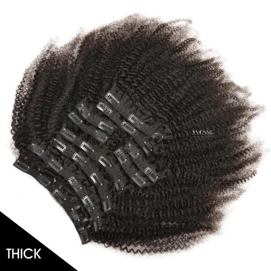 YVONNE Thick 32Clips 10PCS/Set 4A 4B  Kinky Curly Clip In Human Hair Extensions Virgin Human Hair Natural Color